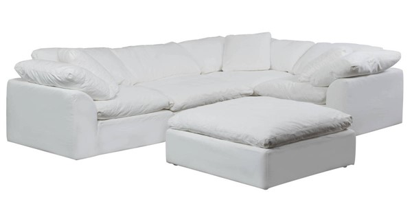 Sunset Trading Cloud Puff White Slipcovered L Shaped 5pc Sectional with Ottoman SST-SU-1458-81-3C-1A-1O
