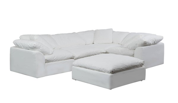 Sunset Trading Cloud Puff White Slipcovered L Shaped 5pc Sectionals with Ottoman SST-SU-1458-3C-1A-1O-SEC-VAR