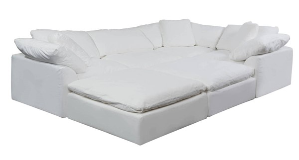 Sunset Trading Cloud Puff White Slipcovered 6pc Pitt Sectional SST-SU-1458-81-3C-1A-2O
