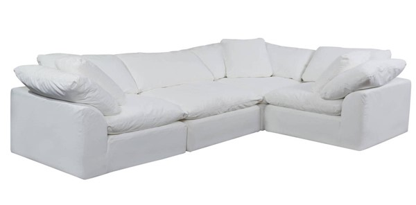 Sunset Trading Cloud Puff White Slipcovered L Shaped 4pc Sectional SST-SU-1458-81-3C-1A