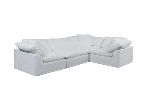Sunset Trading Cloud Puff White Slipcovered L Shaped 4pc Sectionals SST-SU-1458-3C-1A-SEC-VAR