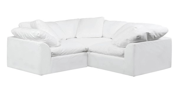 Sunset Trading Cloud Puff White Slipcovered Small L Shaped 3pc Sectional SST-SU-1458-81-3C