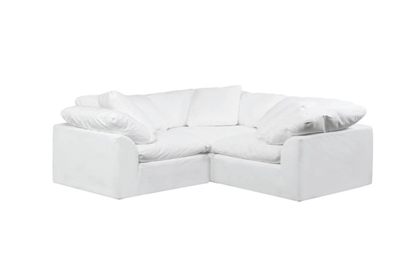 Sunset Trading Cloud Puff White Slipcovered Small L Shaped 3pc Sectionals SST-SU-1458-3C-SEC-VAR
