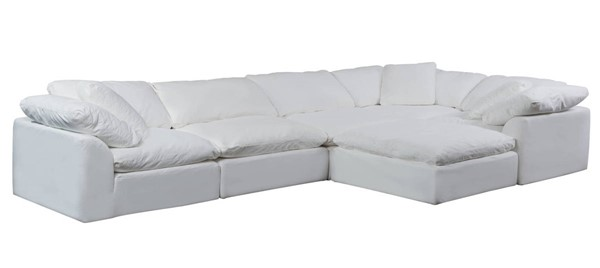 Sunset Trading Cloud Puff White Slipcovered 6pc L Shaped Sectional with Ottoman SST-SU-1458-81-3C-2A-1O