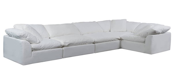 Sunset Trading Cloud Puff White Slipcovered 5pc Sofa Sectional SST-SU-1458-81-3C-2A