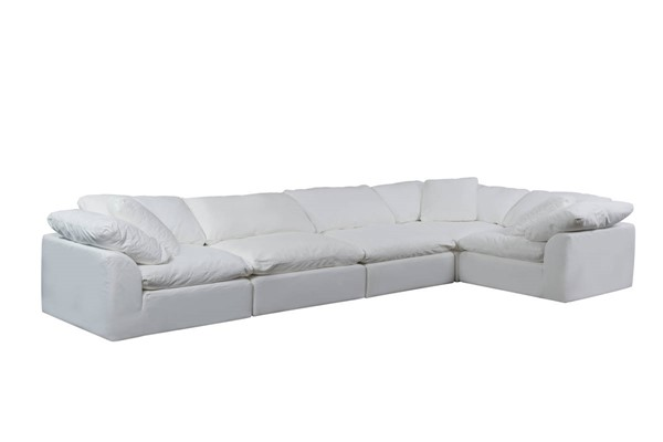Sunset Trading Cloud Puff Slipcovered 5pc Sofa Sectionals SST-SU-1458-3C-2A-SEC-VAR