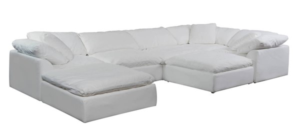 Sunset Trading Cloud Puff White Slipcovered 7pc Sectional with Ottoman SST-SU-1458-81-3C-2A-2O