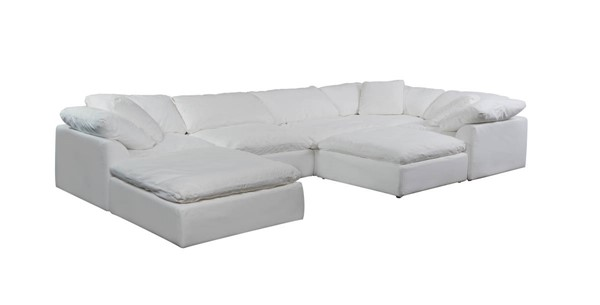 Sunset Trading Cloud Puff Slipcovered 7pc Sectionals with Ottoman SST-SU-1458-3C-2A-2O-SEC-VAR