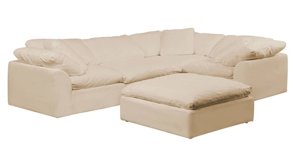 Sunset Trading Cloud Puff Tan Slipcovered L Shaped 5pc Sectional with Ottoman SST-SU-1458-84-3C-1A-1O