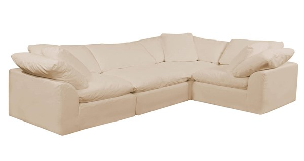 Sunset Trading Cloud Puff Tan Slipcovered L Shaped 4pc Sectional SST-SU-1458-84-3C-1A