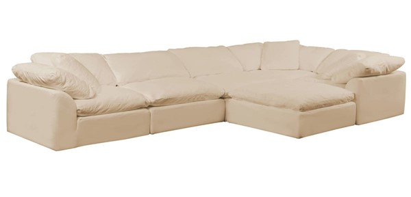 Sunset Trading Cloud Puff Tan Slipcovered 6pc L Shaped Sectional with Ottoman SST-SU-1458-84-3C-2A-1O