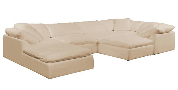 Sunset Trading Cloud Puff Tan Slipcovered 7pc Sectional with Ottoman SST-SU-1458-84-3C-2A-2O