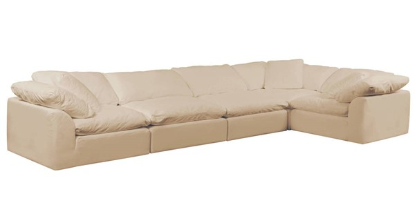 Sunset Trading Cloud Puff Tan Slipcovered 5pc Sofa Sectional SST-SU-1458-84-3C-2A