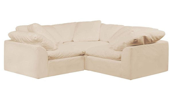 Sunset Trading Cloud Puff Tan Slipcovered Small L Shaped 3pc Sectional SST-SU-1458-84-3C