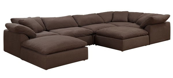 Sunset Trading Cloud Puff Brown Slipcovered 7pc Sectional with Ottoman SST-SU-1458-88-3C-2A-2O