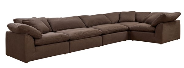 Sunset Trading Cloud Puff Brown Slipcovered 5pc Sofa Sectional SST-SU-1458-88-3C-2A