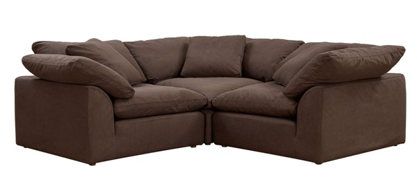 Sunset Trading Cloud Puff Brown Slipcovered Small L Shaped 3pc Sectional SST-SU-1458-88-3C