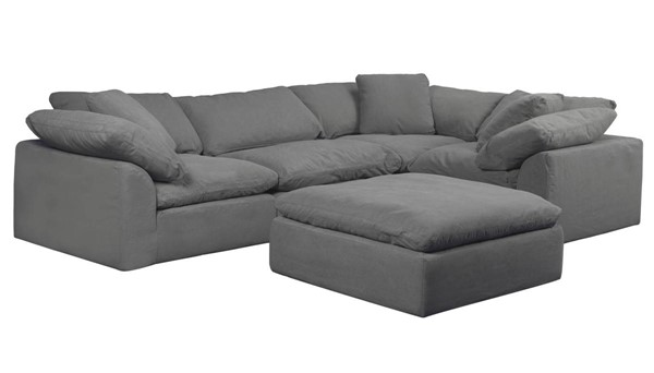Sunset Trading Cloud Puff Grey Slipcovered L Shaped 5pc Sectional with Ottoman SST-SU-1458-94-3C-1A-1O