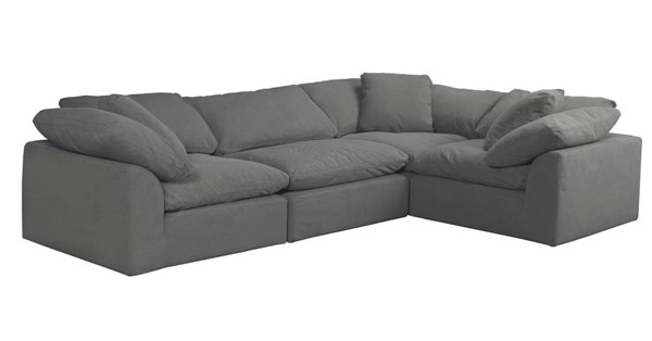 Sunset Trading Cloud Puff Grey Slipcovered L Shaped 4pc Sectional SST-SU-1458-94-3C-1A