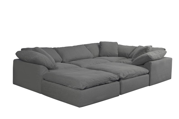 Sunset Trading Cloud Puff Grey Slipcovered 6pc Pitt Sectional SST-SU-1458-94-3C-1A-2O