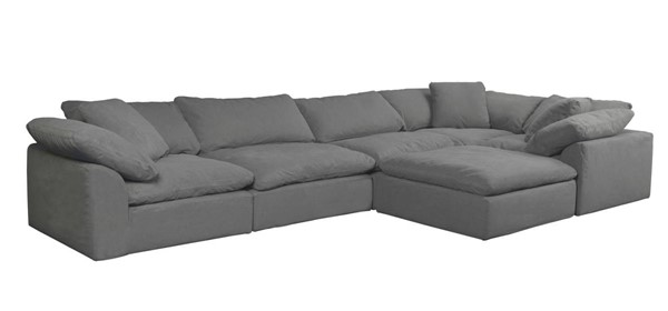 Sunset Trading Cloud Puff Grey Slipcovered 6pc L Shaped Sectional with Ottoman SST-SU-1458-94-3C-2A-1O