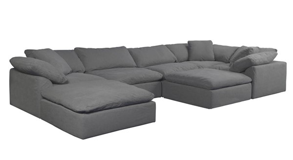 Sunset Trading Cloud Puff Grey Slipcovered 7pc Sectional with Ottoman SST-SU-1458-94-3C-2A-2O