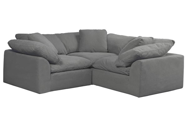 Sunset Trading Cloud Puff Grey Slipcovered Small L Shaped 3pc Sectional SST-SU-1458-94-3C