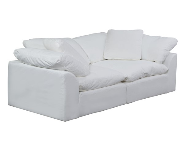 Sunset Trading Cloud Puff White 2pc Large Loveseat Slipcover SST-SU-1458SC-81-2C