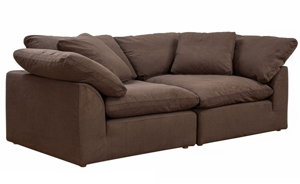 Sunset Trading Cloud Puff Brown 2pc Large Loveseat Slipcover SST-SU-1458SC-88-2C