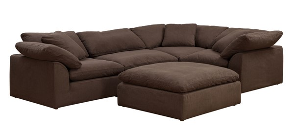 Sunset Trading Cloud Puff Brown Modular 5pc Sectional Slipcover SST-SU-1458SC-88-3C-1A-1O