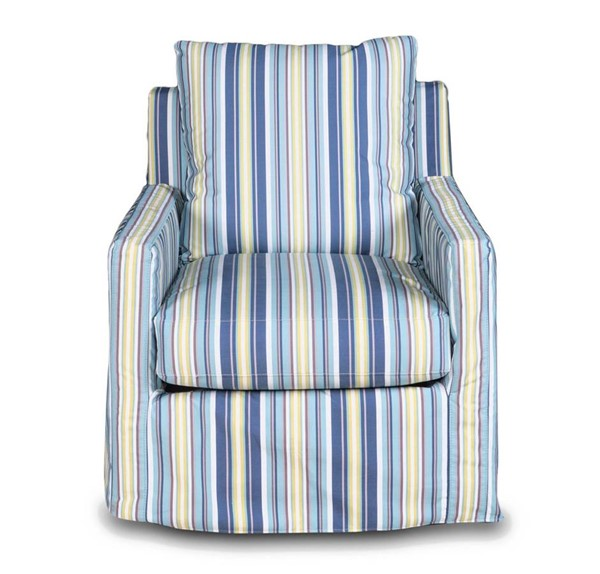 Sunset Trading Seaside Beach Striped Slipcovered Swivel Chair SST-SU-159593-395245