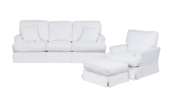 Sunset Trading Ariana White Slipcovered 3pc Living Room Set with Sleeper Sofa SST-SU-78341-20-30-81
