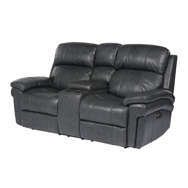 Sunset Trading Gray Leather Power Headrest and Console Reclining Loveseat SST-SU-9102-94-1394-73