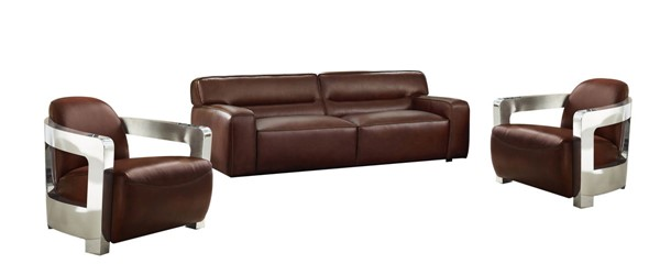 Sunset Trading Milan Brown Leather 3pc Living Room Set with Aviator Chairs SST-SU-AX6816-S2A