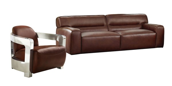 Sunset Trading Milan Brown Leather 2pc Living Room Set with Chrome Arms SST-SU-AX6816-SA