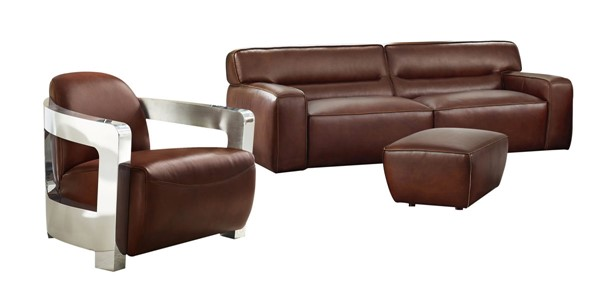 Sunset Trading Milan Brown Leather 3pc Living Room Set with Ottoman SST-SU-AX6816-SAO