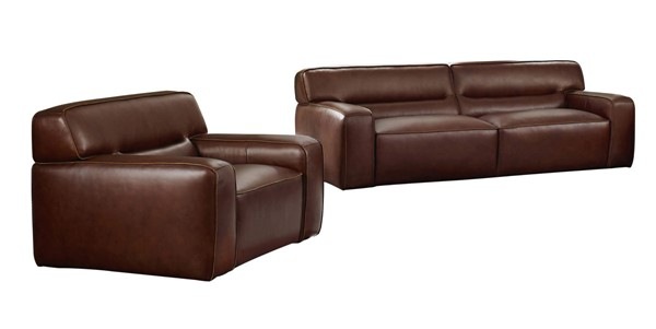 Sunset Trading Milan Brown Leather 2pc Living Room Set with Armchair SST-SU-AX6816-SC