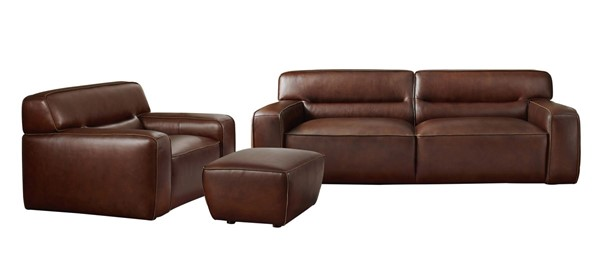 Sunset Trading Milan Brown Leather 3pc Living Room Set with Chair SST-SU-AX6816-SCO