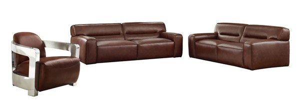 Sunset Trading Milan Brown Leather 3pc Living Room Set with Aviator Chair SST-SU-AX6816-SLA