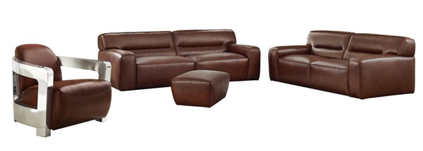 Sunset Trading Milan Brown Leather 4pc Living Room Set with Aviator Chair SST-SU-AX6816-SLAO
