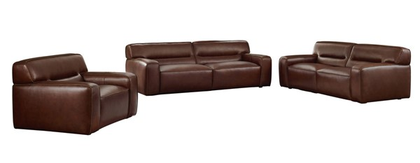 Sunset Trading Milan Brown Leather 3pc Living Room Set SST-SU-AX6816-SLC