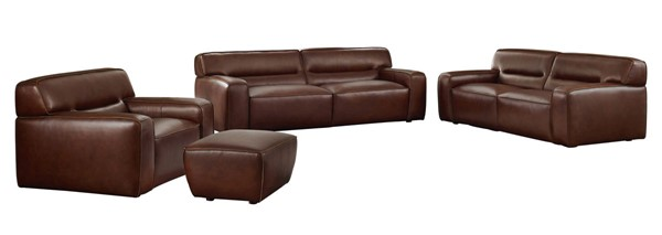 Sunset Trading Milan Brown Leather 4pc Living Room Set SST-SU-AX6816-SLCO