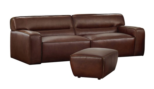 Sunset Trading Milan Brown Leather 2pc Living Room Set with Ottoman SST-SU-AX6816-SO