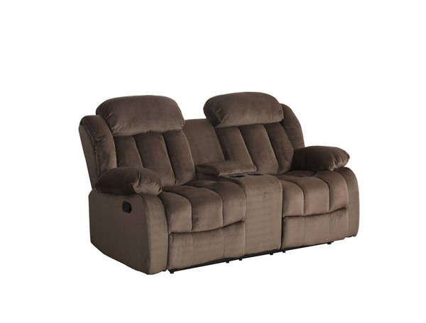 Sunset Trading Teddy Bear Cocoa Brown Reclining Loveseat with Console SST-SU-LN660-206