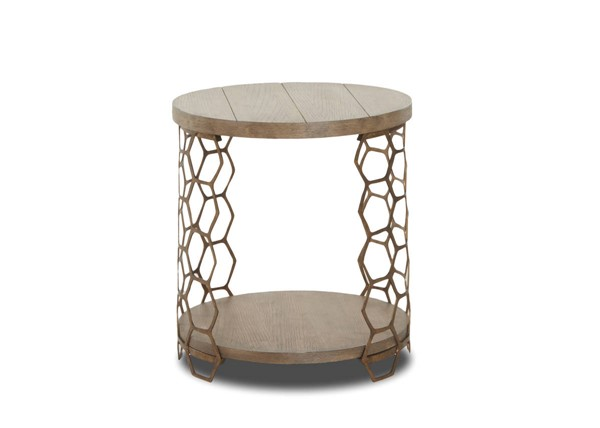 Sunset Trading Bee Inspired Brown Gold Round End Table SST-WP-5011-808