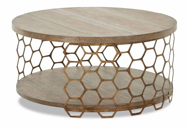Sunset Trading Bee Inspired Brown Gold Round Cocktail Table SST-WP-5011-820