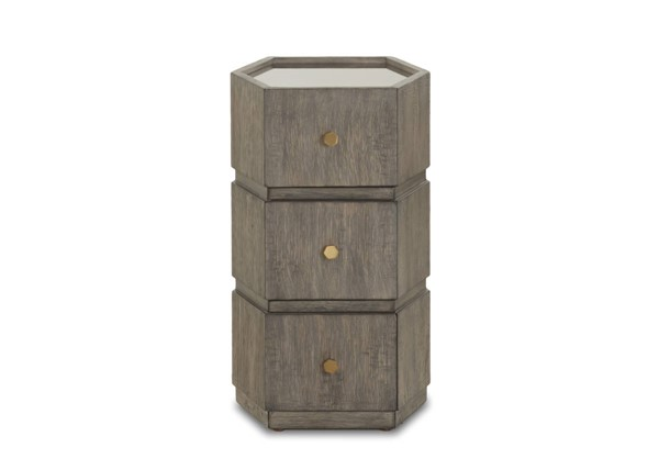 Sunset Trading Bee Inspired Brown Gold 3 Drawer Side Table SST-WP-5013-809