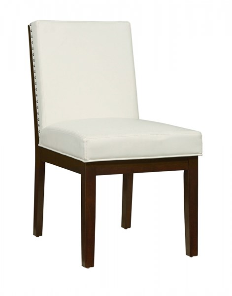 2 Couture Elegance Contemporary Chocolate White Wood PU Side Chairs STD-10564