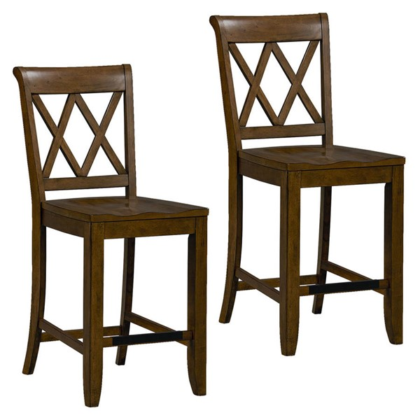 2 standard furniture vintage brown counter height stools the classy home. Black Bedroom Furniture Sets. Home Design Ideas