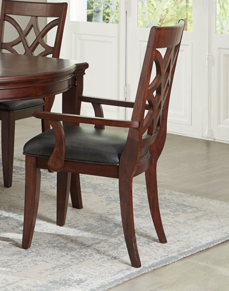 2 Standard Furniture Wellsville Cherry Brown Dining Arm Chairs STD-12265